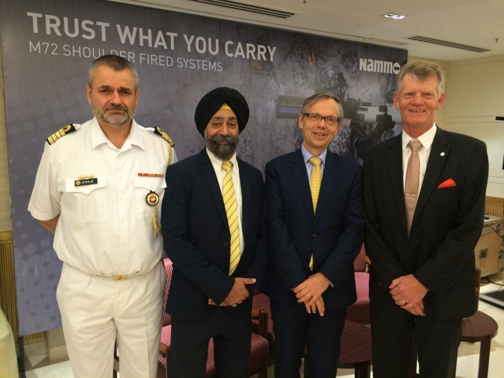 From left: Defense Attachee Hogne Rykkje, Managing Director Nammo India, Karanjit S. Chopra, Norwegian Ambassador to India Nils Ragnar Kamsvåg, Kjell Kringsjå Senior Vice President Business Development, Nammo Group. Photo credit: nammo.com
